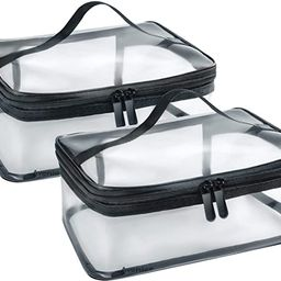 Clear Makeup Bag with Zipper and Handle, Portable Transparent Travel Toiletry Carry Pouch set for... | Amazon (US)