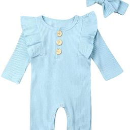 Mekysd Newborn Kids Baby Boys Cute Solid Color Long Sleeve Button Up Romper Jumpsuit Top Outfits ... | Amazon (US)