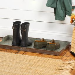 """Camber Aged Galvanized 32"""" x 16"""" Indoor Outdoor Boot Tray 