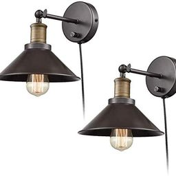 CLAXY Industrial Light Adjustable Wall Sconce Simplicity 1 Light Wall Lamp-2 Pack | Amazon (US)