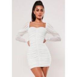 Cream Mesh Ruched Mini Dress | Missguided (US & CA)