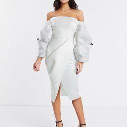ASOS DESIGN Premium twist bubble contrast sleeve wrap pencil midi dress in ivory-White | ASOS (Global)