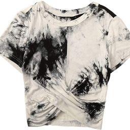 Floerns Women's Short Sleeve Tie Dye Twist Front Summer Crop Tops Tee T Shirts | Amazon (US)