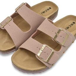 Womens Flat Slide Sandals with Arch Support 2 Strap Adjustable Buckle Slip on Slides Shoes Non Sl... | Amazon (US)
