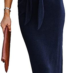 Dokotoo Women's Casual Elegant Scoop Neck Short Sleeve Bodycon Tie Waist Cocktail Dress   Amazon (US)
