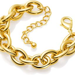 Gold Bracelets for Women - Lane Woods 14k Gold Plated Chunky Thick Large Link Chain Bracelet   Amazon (US)