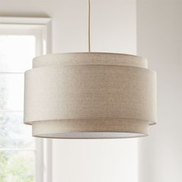 Avery Linen Double Drum Pendant Light + Reviews | Crate and Barrel | Crate & Barrel