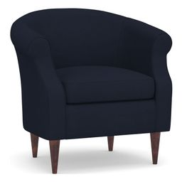 SoMa Lyndon Upholstered Armchair, Polyester Wrapped Cushions, Twill Cadet Navy | Pottery Barn (US)