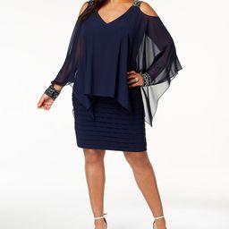 Plus Size Cold-Shoulder Popover Dress | Macys (US)