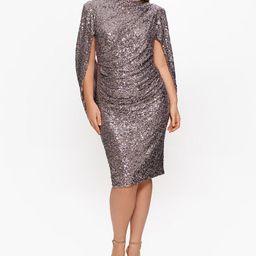 Plus Size Sequin Drape-Back Sheath Dress | Macys (US)