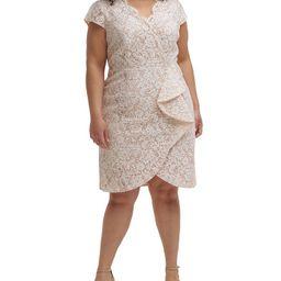Plus Size Ruffle-Trim Lace Dress | Macys (US)
