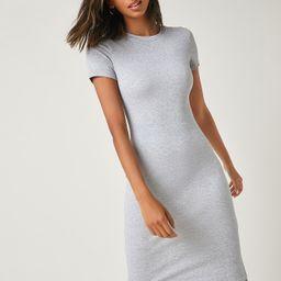 Einfarbiges figurbetontes Kleid mit rundem Kragen | SHEIN