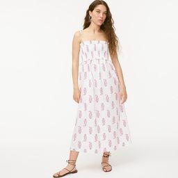 Smocked cotton poplin dress in budding branch print | J.Crew US