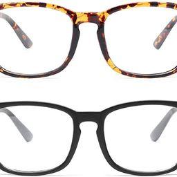 livho 2 Pack Blue Light Blocking Glasses, Computer Reading/Gaming/TV/Phones Glasses for Women Men... | Amazon (US)