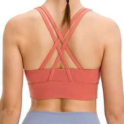 Lavento Women's Strappy Sports Bra Medium Support Workout Training Top | Amazon (US)