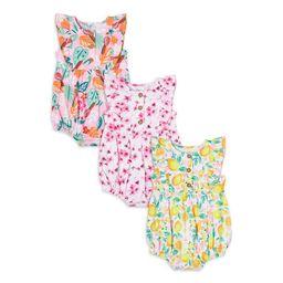 Wonder Nation Baby Girl Ruffle Romper, 3-Pack Bundle | Walmart (US)