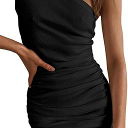 Meikulo Women One Shoulder Ruched Bodycon Dresses Sleeveless Ribbed Tank Top Mini Dress Casual Su... | Amazon (US)