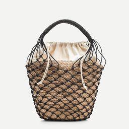 Raffia bucket bag with netting overlay | J.Crew US