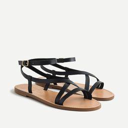 Flat strappy sandals in vachetta leather | J.Crew US
