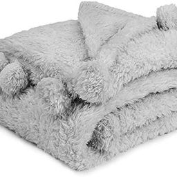 PAVILIA Light Gray Sherpa Throw Blanket for Couch, Pom Pom | Fluffy Plush Soft Blanket for Sofa B... | Amazon (US)