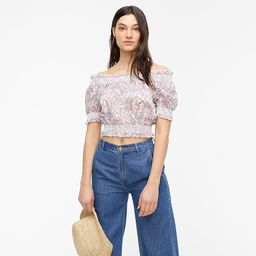 Smocked cotton top in Liberty® Faraway Plum floral | J.Crew US