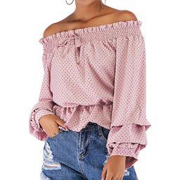 NXH Women's Blouses Pink - Pink Polka Dot Ruffle-Trim Off-Shoulder Top - Women   Zulily
