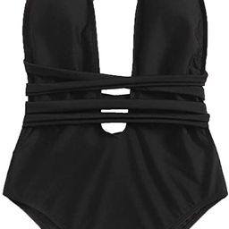 SweatyRocks Women's Sexy Basic Criss Cross Tie Knot Front Deep V Open Back One Piece Swimwear | Amazon (US)
