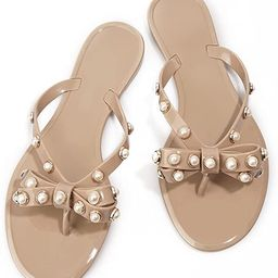 TYFLOVE Women Rivet Flip Flops Studded Jelly Thong Sandals with Bow Summer Bowtie Flat Beach Rain... | Amazon (US)