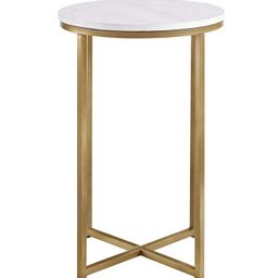 """16"""" Modern Faux-Marble Side Table with Gold Base 