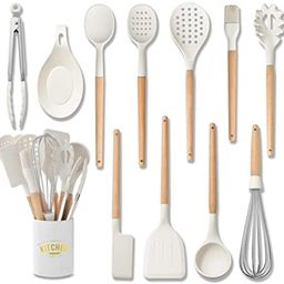 White Cooking Utensils set - Silicone Kitchen Tools Set with Wood handle for Nonstick Utensils Co...   Amazon (US)