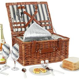 Willow Picnic Basket Set for 2 Persons with Large Insulated Cooler Bag and Classical Cutlery Serv...   Amazon (US)