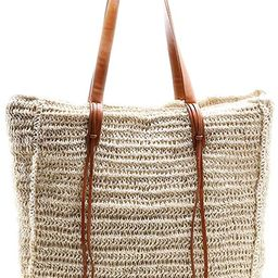 Beach Bag By Miss Fong,Beach Bags for Women,Straw Bag, Beach Tote Bag, Straw Beach Bag with Inner... | Amazon (US)