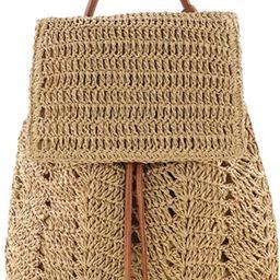 Women Fashion Straw Handmade Crochet Backpack Flap Drawstring Shoulders Bag Casual Beach Daypack | Amazon (US)