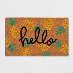 "1'6""x2'6"" 'Hello' Pineapple Doormat Natural - Sun Squad™ | Target"