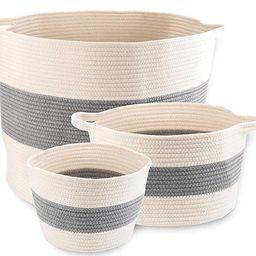 "Little Hippo 3pc Large Cotton Rope Basket (21""x16"") 100% Natural Cotton! Rope Basket, Woven Stora... | Amazon (US)"