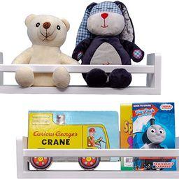 MASHBA Nursery Floating Shelf, Set of 2, White Wall Mounted Bookshelves for Organizing Books, Toy... | Amazon (US)