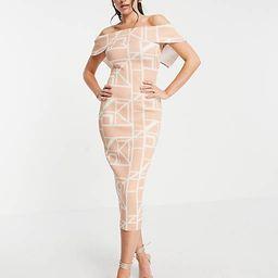ASOS DESIGN fold front pencil midi dress in grid print | ASOS (Global)