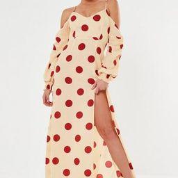 Rust Polka Dot Cold Shoulder Maxi Dress   Missguided (US & CA)