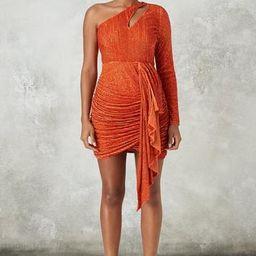 Peace + Love Orange Embellished Cut Out Drape Mini Dress | Missguided (US & CA)