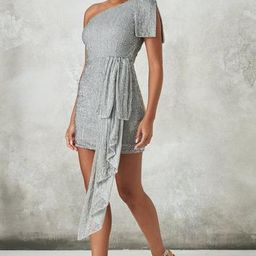 Peace + Love Silver Embellished Drape Mini Dress | Missguided (US & CA)