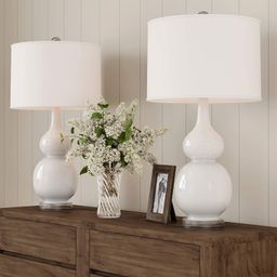 Home Lavish Table Lamps – Set of 2 Ceramic Double Gourd Vintage Style for Bedroom, Living Room ... | Amazon (US)