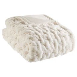 """50""""x60"""" Ruched Faux Fur Throw Blanket 