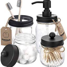 Mason Jar Bathroom Accessories Set 4 Pcs - Mason Jar Soap Dispenser & 2 Apothecary Jars & Toothbr...   Amazon (US)