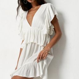 Petite Cream Frill Sleeve Plunge Smock Mini Dress | Missguided (US & CA)