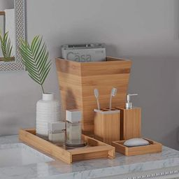 Lavish Home Bamboo Bath Accessories-5-Piece Set Natural Wood Tray Lotion Dispenser, Soap Dish, To... | Amazon (US)