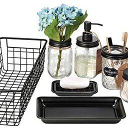 Mason Jar Bathroom Accessories Set 8 Pcs - Lotion Soap Dispenser,Toothbrush Holder,2 Apothecary J...   Amazon (US)