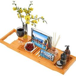 Bath Tray for Tub Bamboo Bath Caddy Tray with Extending Sides, Expandable Bathtub Tray with Wine ... | Amazon (US)