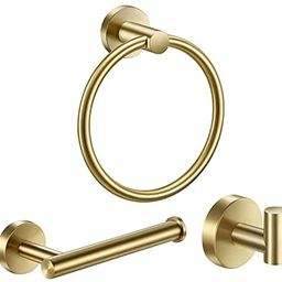 Pynsseu 304 Stainless Steel Bathroom Hardware Accessories Set Brushed Gold 3-Piece Set Includes H... | Amazon (US)
