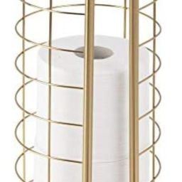 mDesign Decorative Metal Free Standing Toilet Paper Holder Stand with Storage for 3 Rolls of Toil... | Amazon (US)