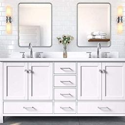 """DKB Beckford Series 73"""" Inch Double Vanity In White with Rectangle Sinks and Pure White Quartz Co... 